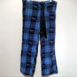 PINK Victoria's Secret Blue Dog Pajama Pants